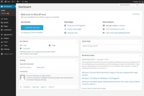 Wordpress pannello amministrazione
